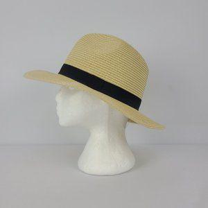 Wide Brim Beige & Black Sun Hat